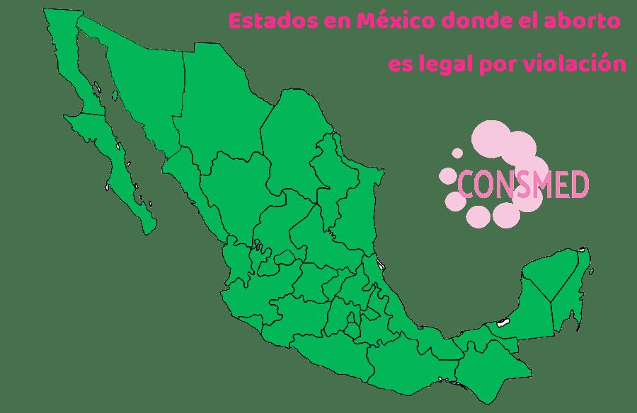 Estados en México donde el aborto es legal por violación